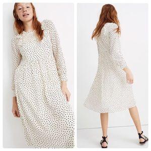 Madewell Smocked Ruffle Shoulder Midi Dress Small